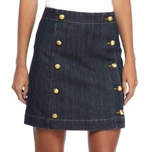 Michael Kors Gold Button Front Denim Mini Skirt
